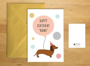 SAUSAGE DOG BIRTHDAY CARD DACHSHUND PERSONALISED GREETINGS GIFT CUTE