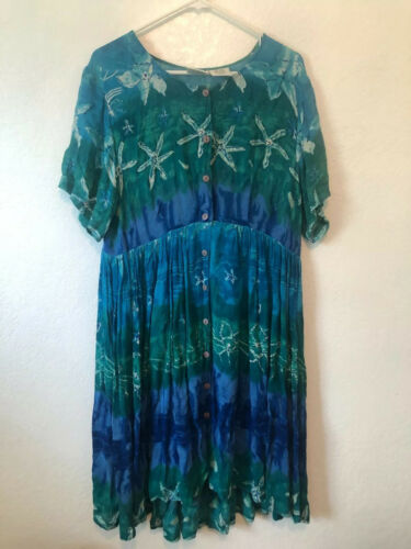 vintage phool India hawaiin print midi dress size