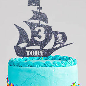Groovy Personalised Pirate Ship Cake Topper Any Name Any Age Ebay Birthday Cards Printable Riciscafe Filternl
