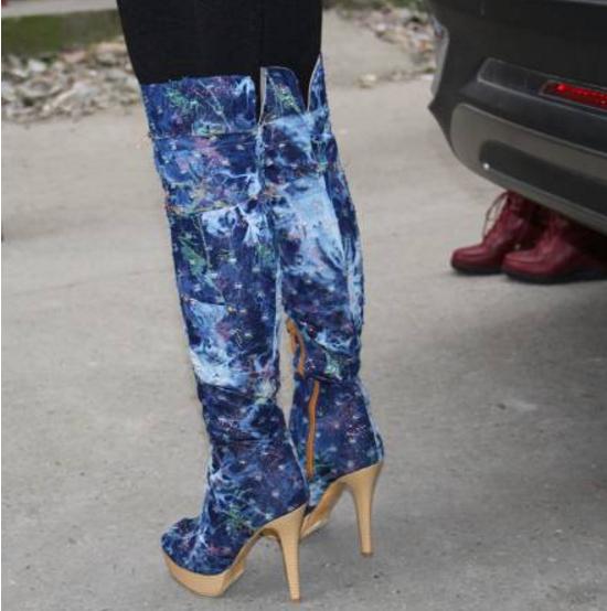 Womens Womens Womens Sexy Peep Toe Platform Denim Over Knee Boots Stilettos High heel shoes Sz be7b90