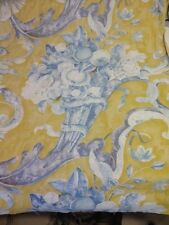 French country pattern cotton poly blend fabric by the yard blue yellow