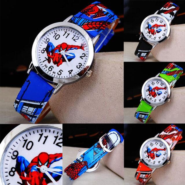 Spiderman Leather Wrist Watch Boy Girl Women Teens Kids Cartoon Watches