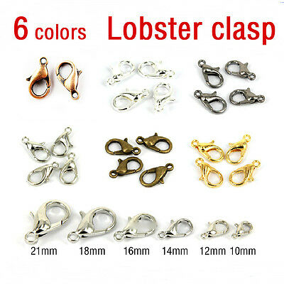 50//100Pcs Silver//Gold//Bronze Lobster Claw Clasps Hooks Finding DIY 10//12//14//16mm