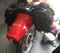 1 PAIR GRADE 1 USED BLACK MOTORCYCLE PANNIERS HEAVY DUTY CANVAS [54014]
