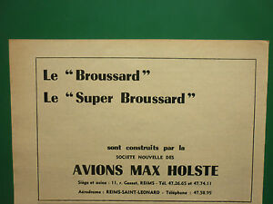 6//1955 PUB AVIONS MAX HOLSTE BROUSSARD MH 1521 AIRCRAFT ORIGINAL FRENCH AD