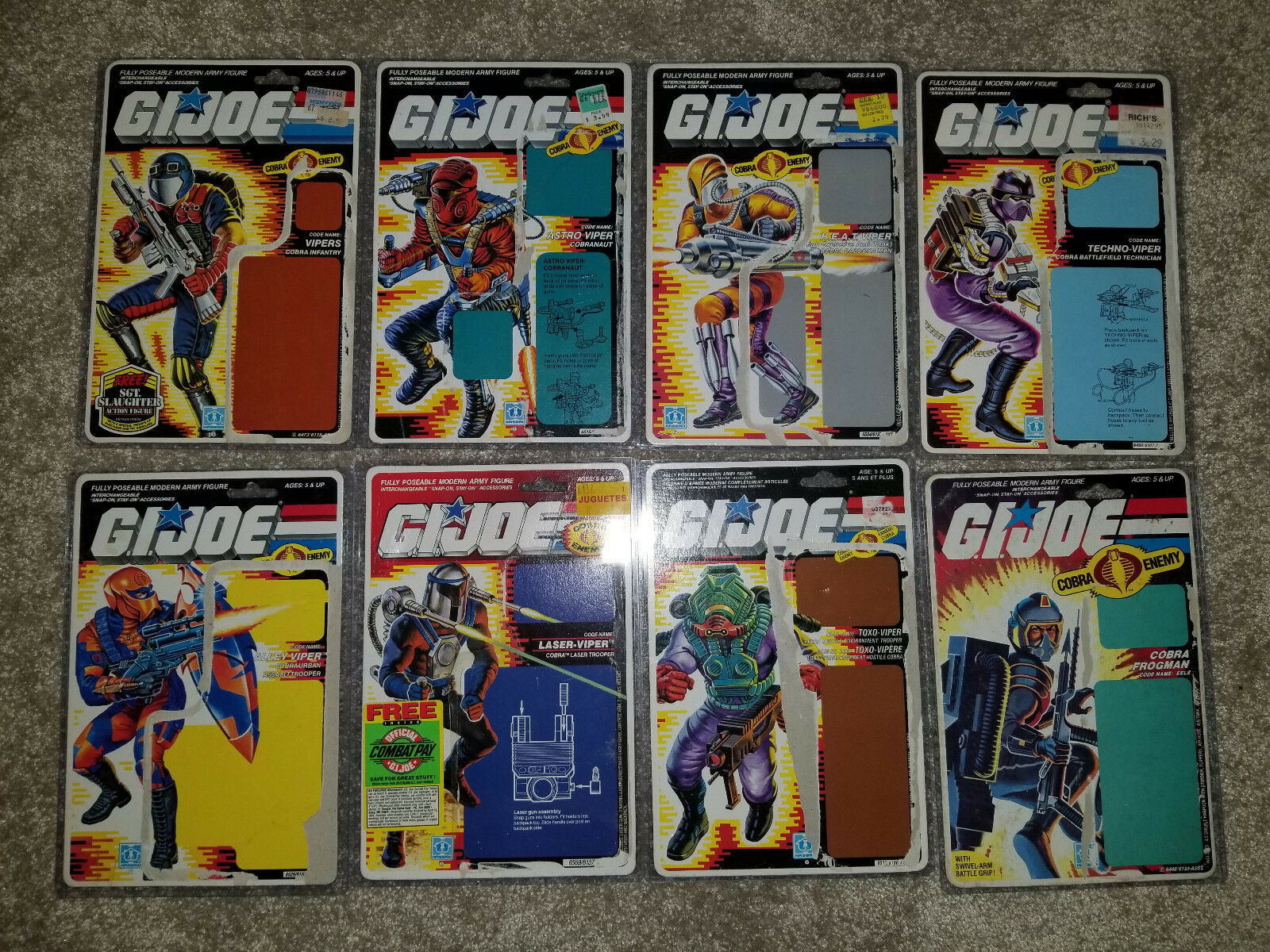 (8) Vintage GI JOE VIPER Full Card Filecard COBRA NINJA NO FIGURE TECHNO ALLEY