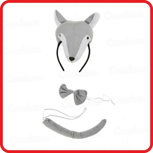 WOLF COYOTE DOG FOX ANIMAL HEADBAND WITH EARS+BOW TIE+TAIL-3PC DRESS UP-COSTUME