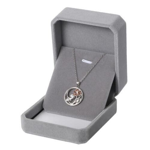 925 Sterling Silver Women/'s Ladies Zirconia Rose Flower Pendant Necklace Xmas