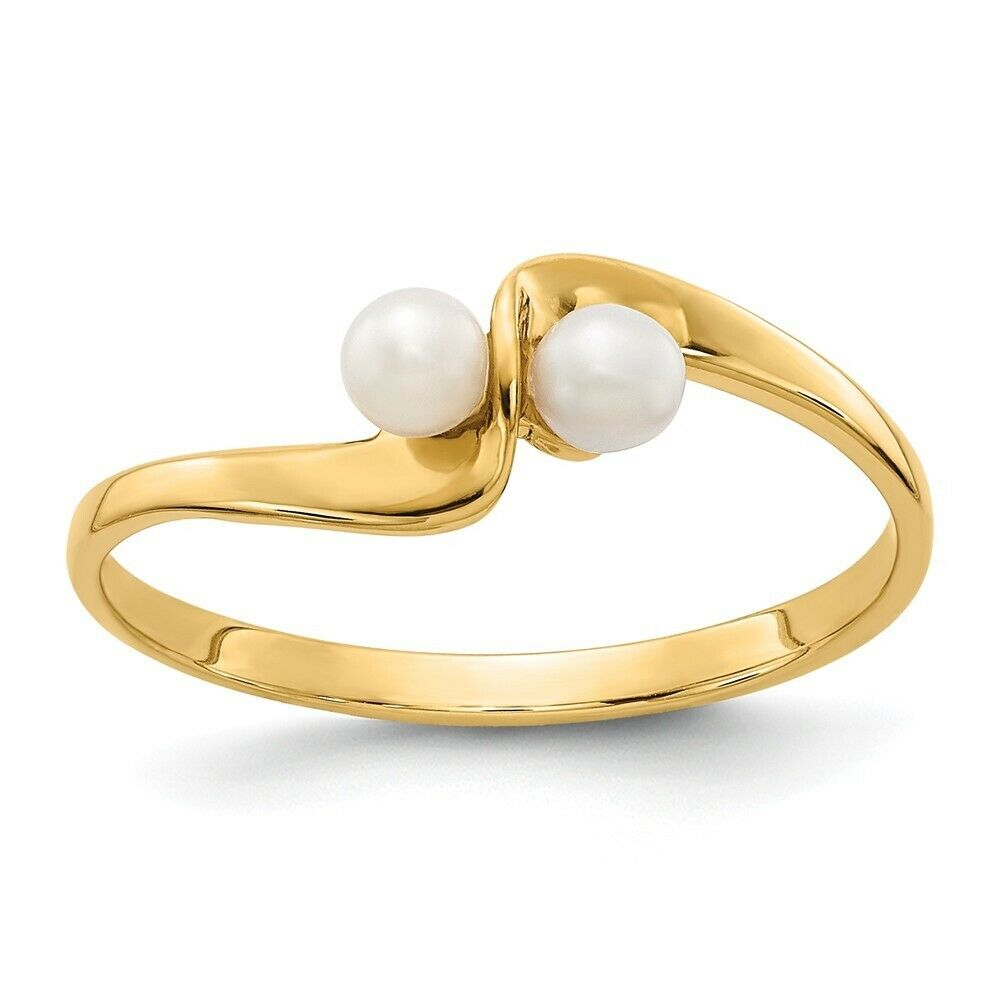 Genuine 14k Yellow gold 3mm Pearl ring  0.94 gr