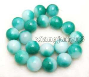 18mm White Geeen Round Natural Jade Loose Beads for Jewelry Making Strand 15''