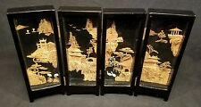 Vintage Chinese Cork Diorama Mini 4 Panel Lacquered Wood & Glass Folding Screen