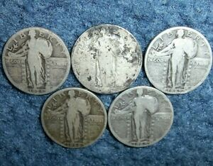 LOT-OF-5-1925-1926-1927-1928-AND-1929-STANDING-LIBERTY-SILVER-QUARTER-COINS