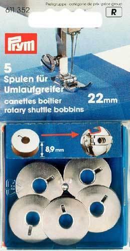 Bobina per Macchina da Cucire Doppia Navetta rotante in Metallo 22mm 5 pezzi PRY