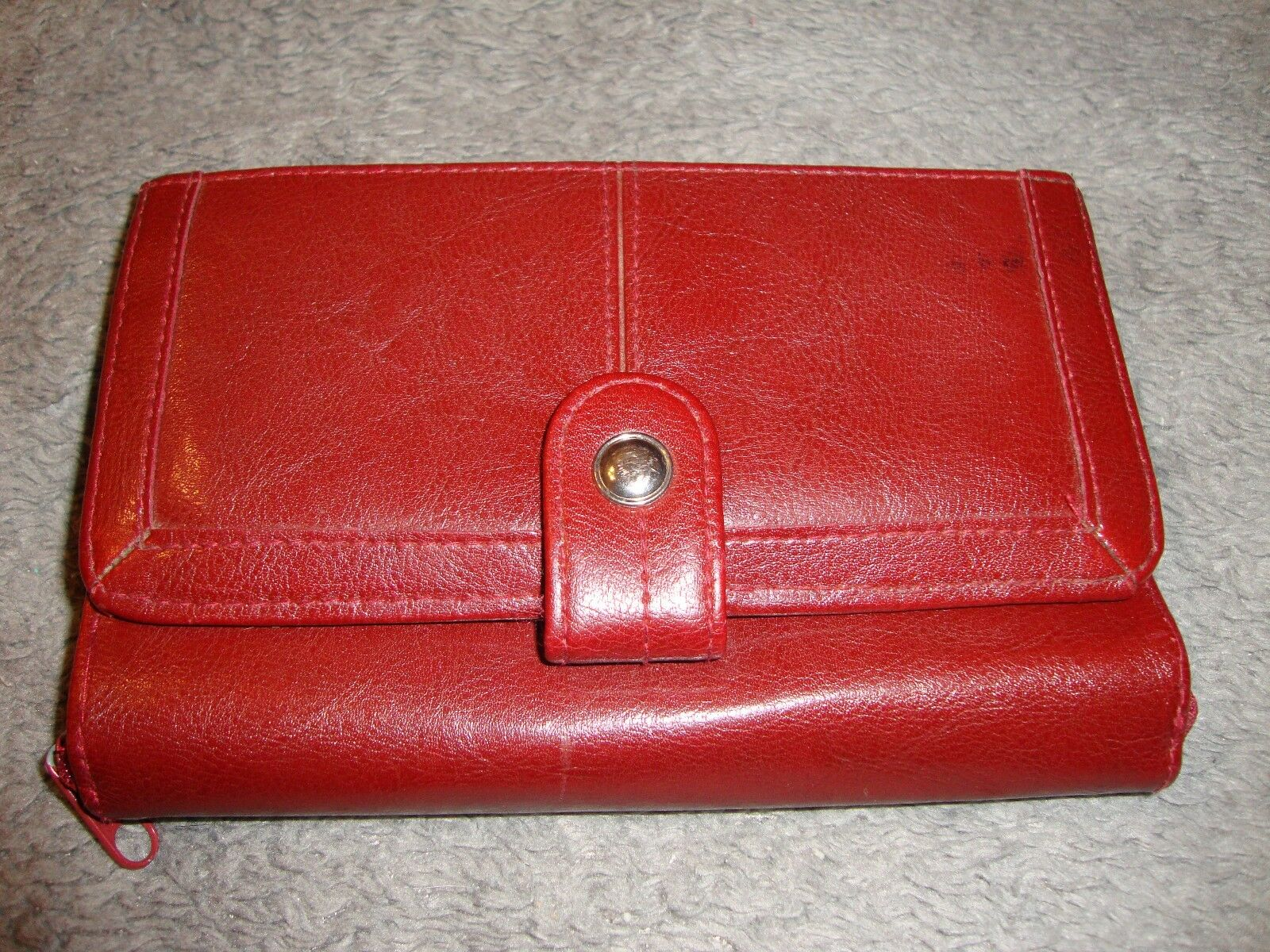 Burgundy Faux Leather Ladies Organizer Wallet Purse/Coupons/Cards/Check B6