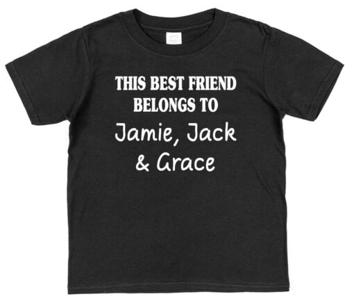 Personalised This Best Friend Belongs T-Shirt Any Names Adults Kids All Colours