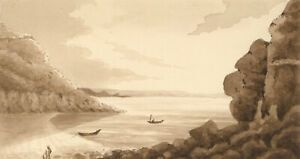 Pair-of-19th-Century-Watercolours-Sepia-Lake-Landscapes