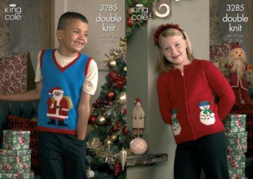 Navidad Santa Jersey Sin Manga /& Muñeco De Nieve Chaqueta King Cole DK Tejer patrón 3285