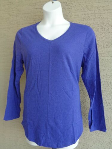 New Just My Size Cotton Blend Center Seam L//S V Neck Tee Top 3X  Blue Heather
