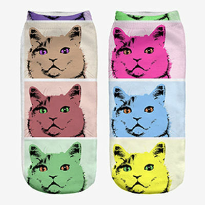 Fashion Unisex Animal Socks Cotton 3D Printed Animals Low Cut Ankle Socks 1 Pair