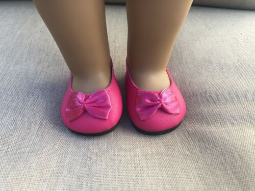 """New Pink Slip On Dress Shoes For 18"""" Dolls Fits  American Girl Doll"""