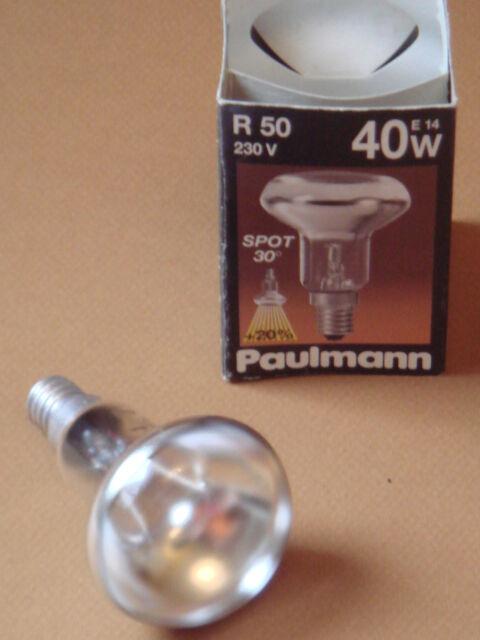 Ampoule spot reflecteur R50 argent satine Radium Paulmann SUDRON CROZE E14 40W
