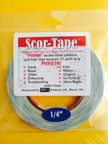 "BULK 5 Rolls of Scor-Tape Adhesive 1//4/"" x 27yd by Scor-Pal FREE SHIPPING!!!"