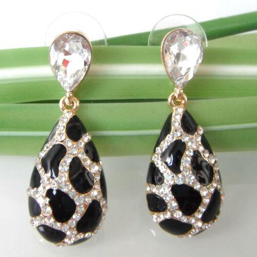 Navachi drop 18K GP  Crystal Enamel Zircon Ear Stud Earrings BH1349