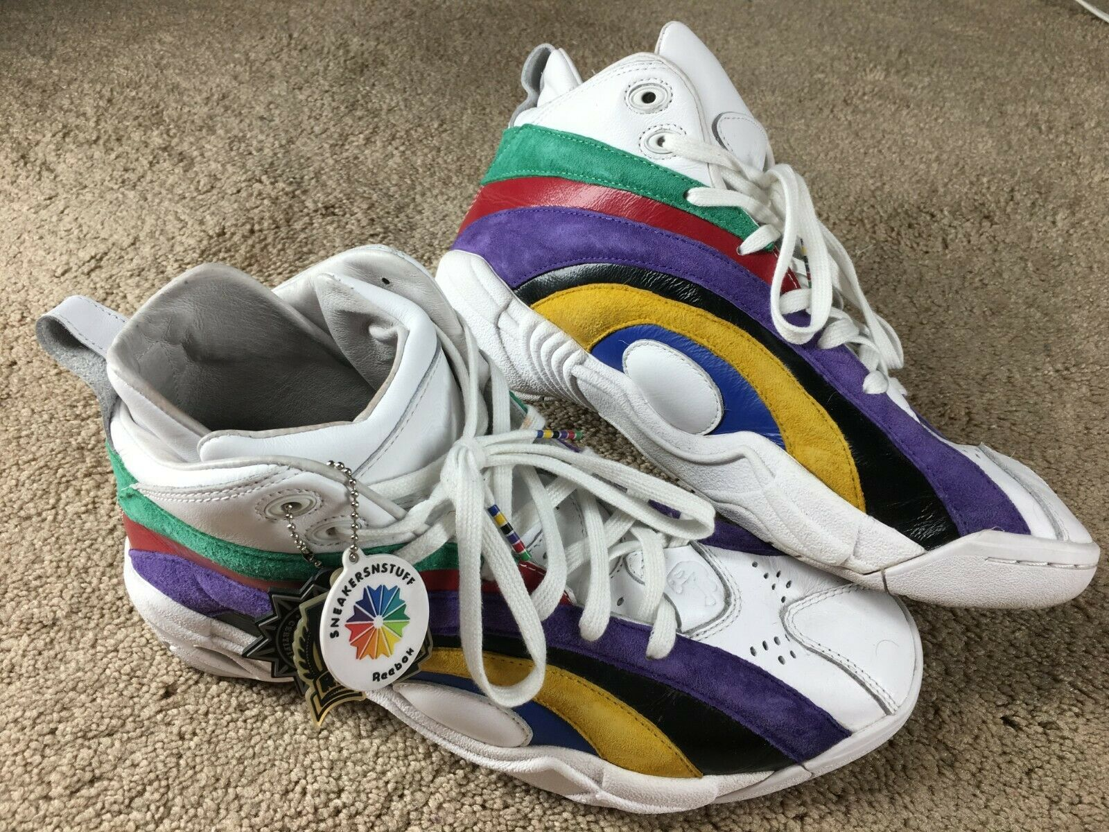 76a71d9a6aac9b Sneakersnstuff Reebok Shaqnosis 10 Leather Shaq SNS Rainbow Basketball shoes  OG zyjkea5229-Athletic Shoes