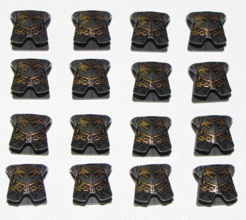 LEGO LOT OF 16 NEW PEARL DARK GREY ARMOR KINGDOMS WITH DRAGON HEADS PATTERN