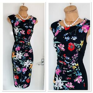 Joseph Ribkoff Black Floral Gathered Waist Jersey Dress Uk Size 14 Ebay