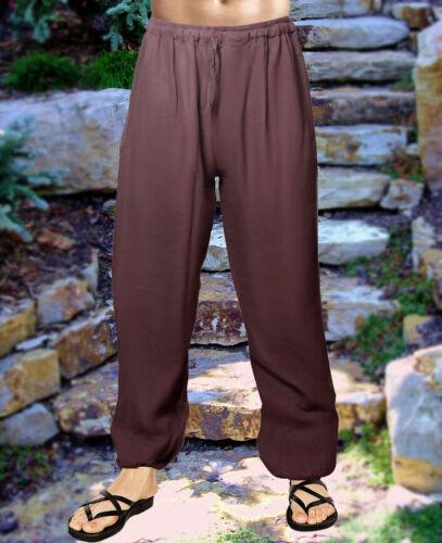 Pajama Brown Lounge Light Trousers Hemp Usa Pants Men Nightwear Cotton Casual qptXf6x