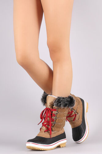 New Women/'s Lace Up Waterproof Snow Winter Mid Calf Duck Boots Faux Fur Rubber