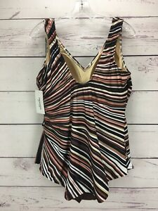 Swimsuits-For-All-Striped-One-Piece-Swimsuit-Skirted-Plus-Size-24-NWT