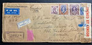 1943-Bombay-India-Airmail-Censored-cover-To-Worcester-MA-USA-Via-Lagos-Nigeria