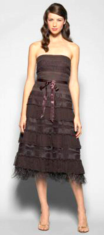 BCBG DARK CHOCOLATE (TPE61925) LACE TIERED STRAPLESS TULLE DRESS NWT 0
