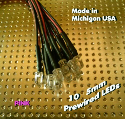 10 PINK 5mm Pre wired LEDs 12 volt 12v PREWIRED rc USA