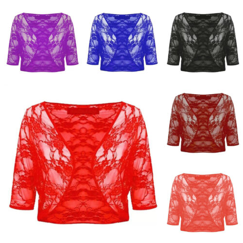 WOMENS LADIES FLORAL LACE 3//4 SLEEVE CROP CADIGAN BOLERO SHRUG PLUS SIZE 16-22