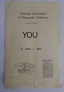 National Association Of Timetable Collectors Membership Invitation Brochure VTG