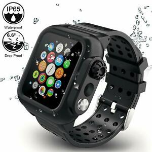 online retailer 34ae1 37bc8 Details about Apple Watch Series 4 iP65 Waterproof Case Band 44mm Full  Protective Strap Cover