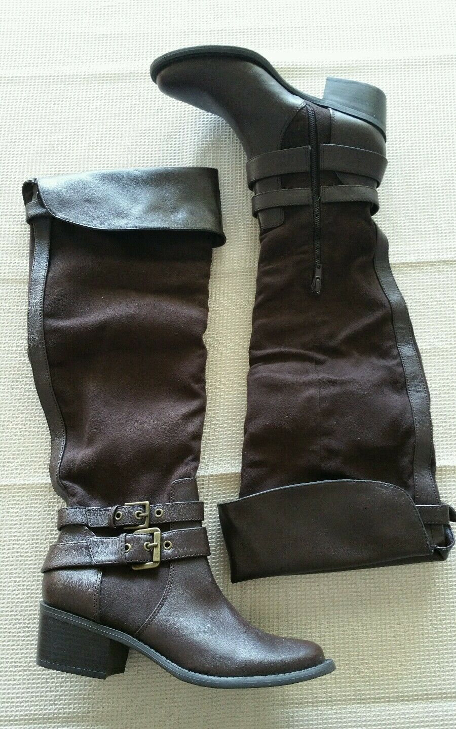 Style & Co Rodney 5.5 M Brown boots buckle detail half side zip up knee high New