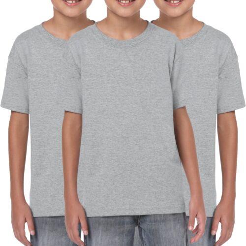 3 Pack Gildan Childrens T-Shirt Cotton Plain Boys Girls T Shirts Wholesale S-XL