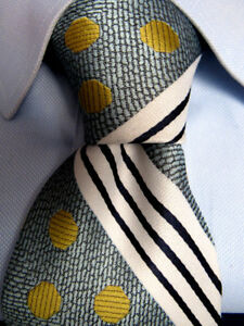 Homme-Vintage-Colosseo-Di-Roma-Polyester-Bleu-Cravate-Rayee