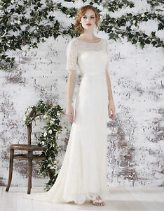 catch vivid and great in style hot-selling real Details about MONSOON Wedding Dress FARAH UK 12 14 Ivory Beaded Lace  Vintage Style NEW £499