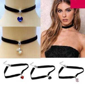 Women-Black-Chocker-Choker-Trendy-Heart-Collar-Necklace-Fashion-Jewellery-Gifts