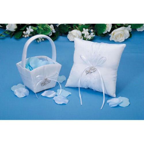 RING PILLOW /& FLOWER BASKET SET W// RHINESTONES /& OPEN HEART CHARMS-VICTORIA LYNN