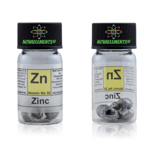 /> 5 grams 99,9/% Zinc metal element 30 Zn sample pellets  in labeled glass vial