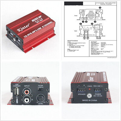 Details about  Mini Hi-Fi 500W 2Channel Stereo Audio Amplifier Subwoofer For Car SUV Motorcycle