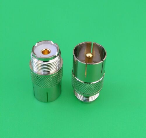 2 PCS UHF PL-259 USA Seller Push-On//Quick Male to UHF Female Connector
