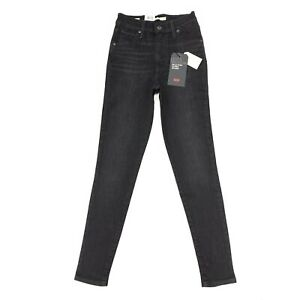 Levi-039-s-Premium-Women-039-s-Mile-High-Super-Skinny-Jeans-In-Washed-Black