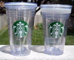 2832c8c0ffc Details about 2 EUC 16 OZ STARBUCKS COFFEE PLASTIC TRAVEL TUMBLER MUGS NO  STRAW COLD BEVERAGES